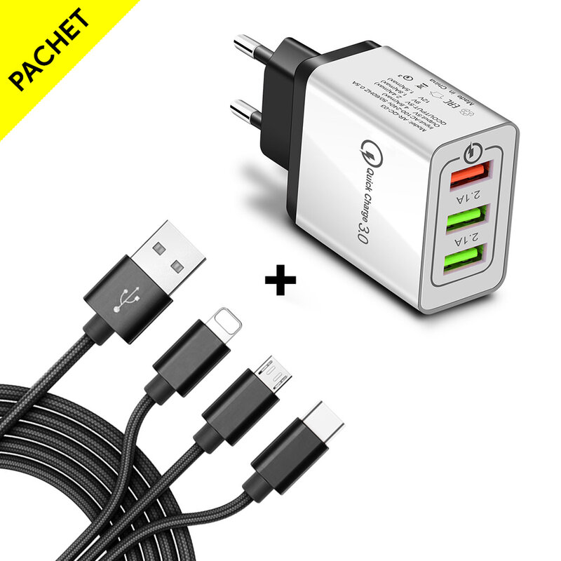 Incarcator Priza Qualcomm Fast 3xUSB 5.1A Quick Charge + Cablu 3in1, 1.2m - Alb