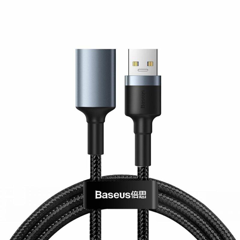 Cablu De Date Baseus Cafule Durable Nylon Extension USB 3.0(male)/USB 3.0(female) 2A 1m - CADKLF-B0G - Gray