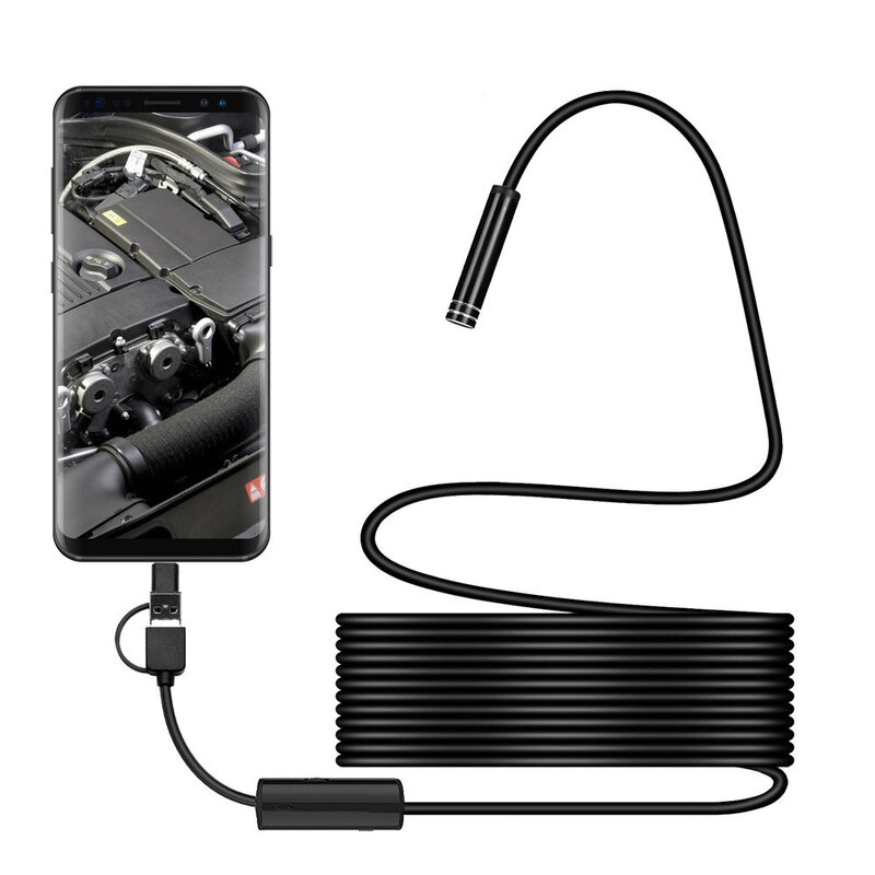 Camera Video Endoscop Universala Inspectie Auto Rezistenta La Apa Pentru Locuri Greu Accesibile 5m - Negru