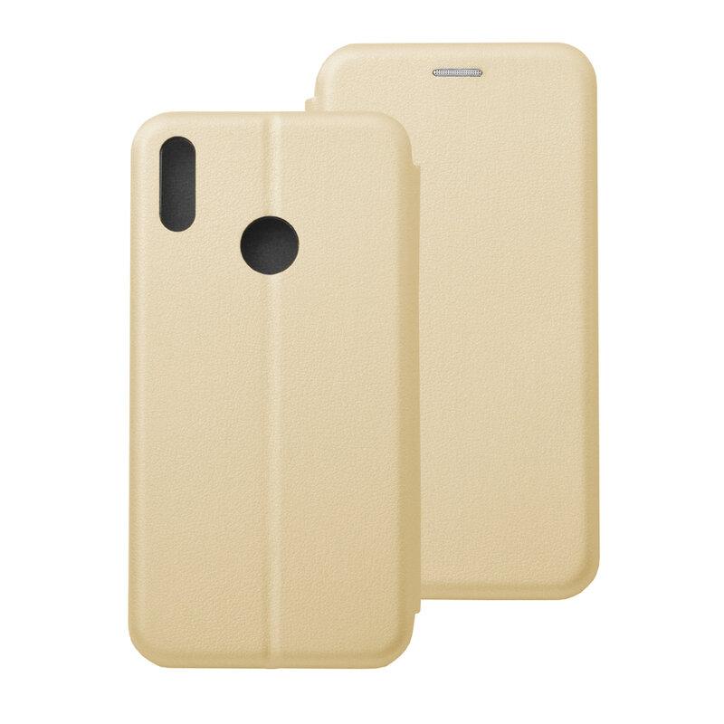 Husa Huawei Y7 2019 Flip Magnet Book Type - Gold