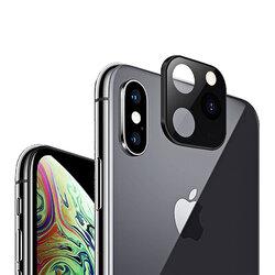 Folie Sticla Iphone X / XS / XS Max Protectie Lentile Fake Camera Cover Imitatie 11 Pro Cu Insertii De Aluminiu - White