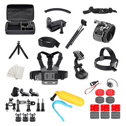 Set Accesorii GoPro SJCAM Universal 50in1 Selfie Stick/Banda Suport Elastica/Suport Auto/Trepied/Geanta - Negru
