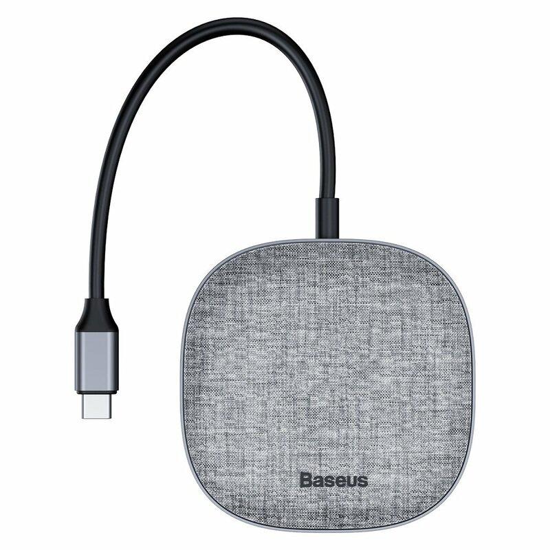 Hub Baseus 7in1 Type-C Multifunctional Card Reader USB/Type-C PD/RJ45/HDMI/SD/micro-SD - CAHUB-DX0G - Gray