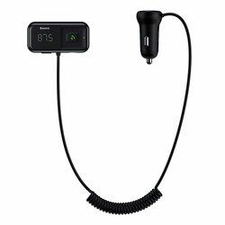 Incarcator Auto Cu Modulator FM Baseus T-Typed S-16 Wireless 2xUSB Bluetooth MP3/Micro-SD - CCTM-E01 - Black