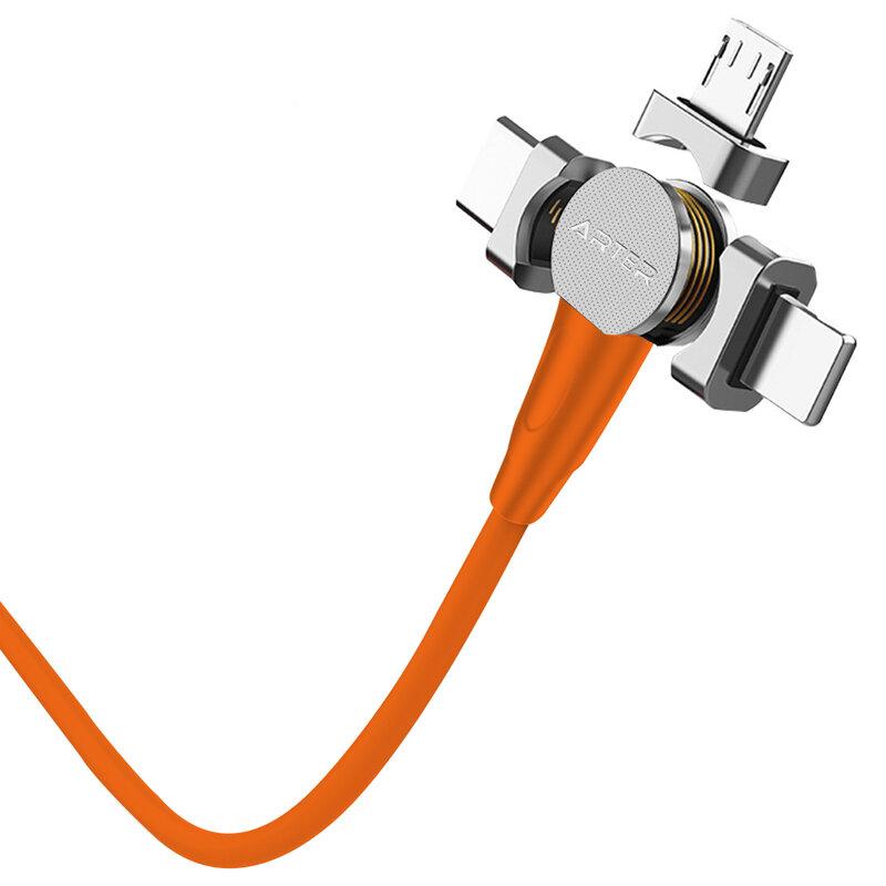 Cablu de incarcare 3in1 Arter Magnetic 360° Type-C, Lightning, Micro-USB - Portocaliu