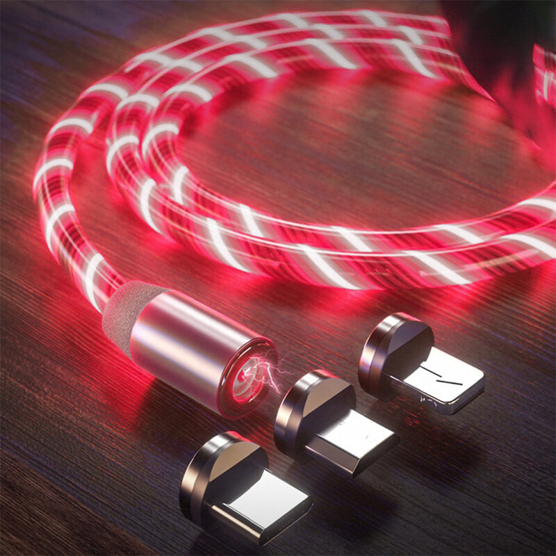 Cablu de incarcare 3in1 Mobster Light UP Fantasy Magnetic 1M – Rosu