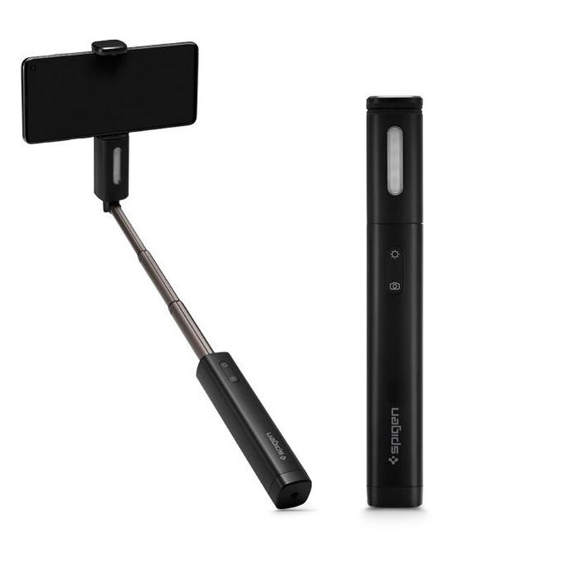Suport Selfie Stick Spigen S550W LED Light Aluminum Monopod Bluetooth Wireless - Midnight Black