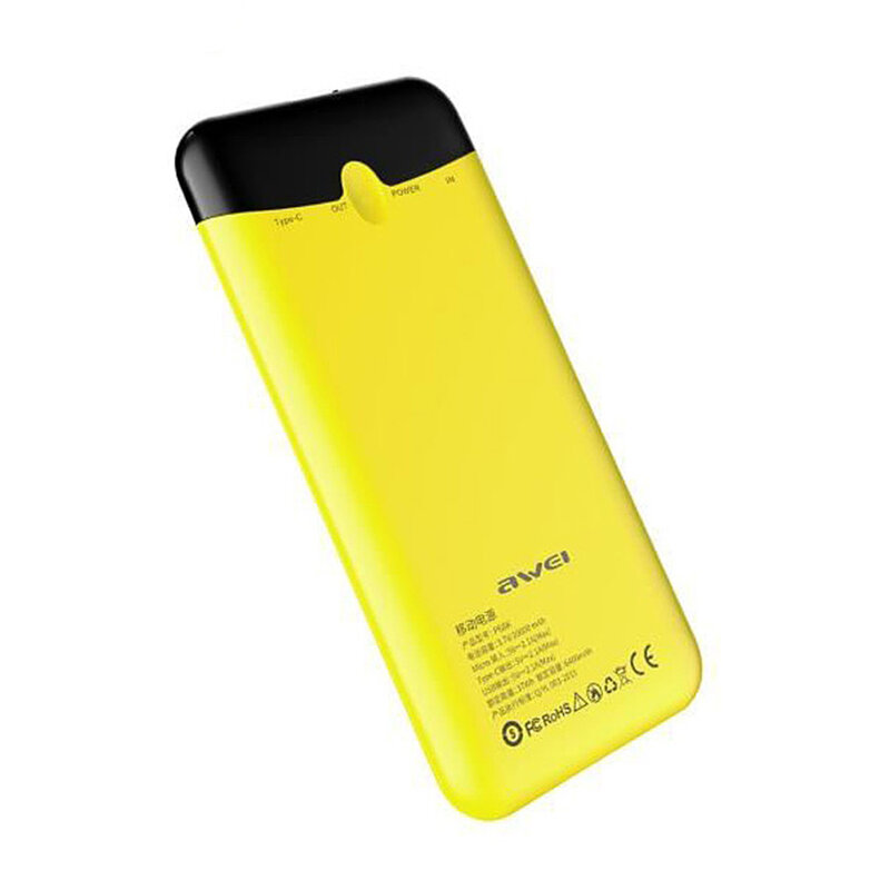 Baterie Externa Awei P68K Power Bank 1xUSB + USB Type-C Fast Charging 10000mAh - Yellow