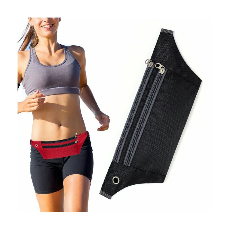 Husa Alergare Tripple Zip Belt Bag Ultimate Running With Headphone Outlet Tip Curea Borseta Universala - Black