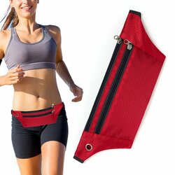 Husa Alergare Tripple Zip Belt Bag Ultimate Running With Headphone Outlet Tip Curea Borseta Universala - Red