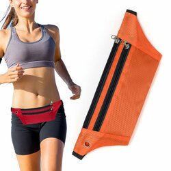 Husa Alergare Tripple Zip Belt Bag Ultimate Running With Headphone Outlet Tip Curea Borseta Universala - Orange