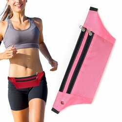 Husa Alergare Tripple Zip Belt Bag Ultimate Running With Headphone Outlet Tip Curea Borseta Universala - Pink