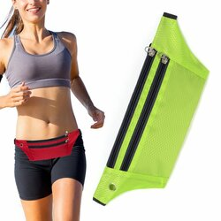Husa Alergare Tripple Zip Belt Bag Ultimate Running With Headphone Outlet Tip Curea Borseta Universala - Green