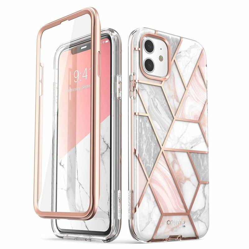 [Pachet 360°]Husa iPhone 11 I-Blason Cosmo Marble + Folie Ecran - Clear
