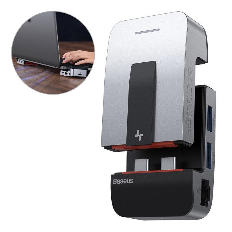 Hub Baseus Laptop Stand Adapter Type-C To USB 3.0/RJ45/Jack/HDMI/Type-C - MacBook Pro - CAHUB-AJ0G - Gray