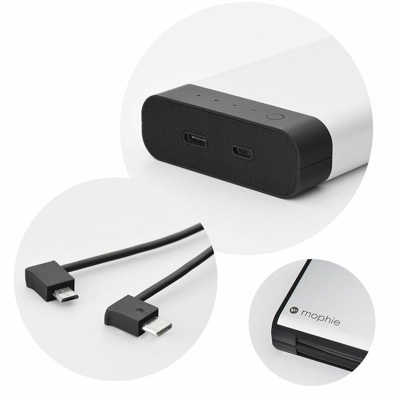 Acumulator extern 20000 mAh Mophie Quick Charge + Cablu Micro-usb - Grey