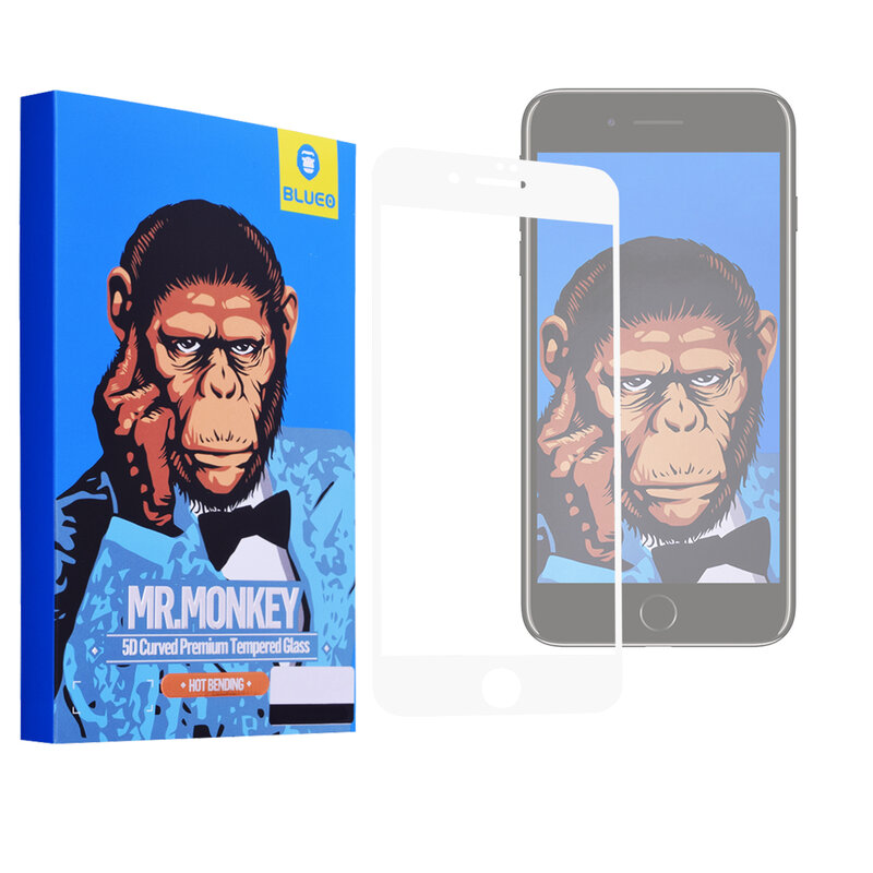 Folie Sticla Apple iPhone 8 Mr. Monkey 5D Hot Bending Cu Rama - Alb