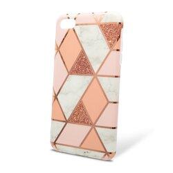 Husa iPhone 6 / 6S Mobster Laser Marble Shockproof TPU - Pink
