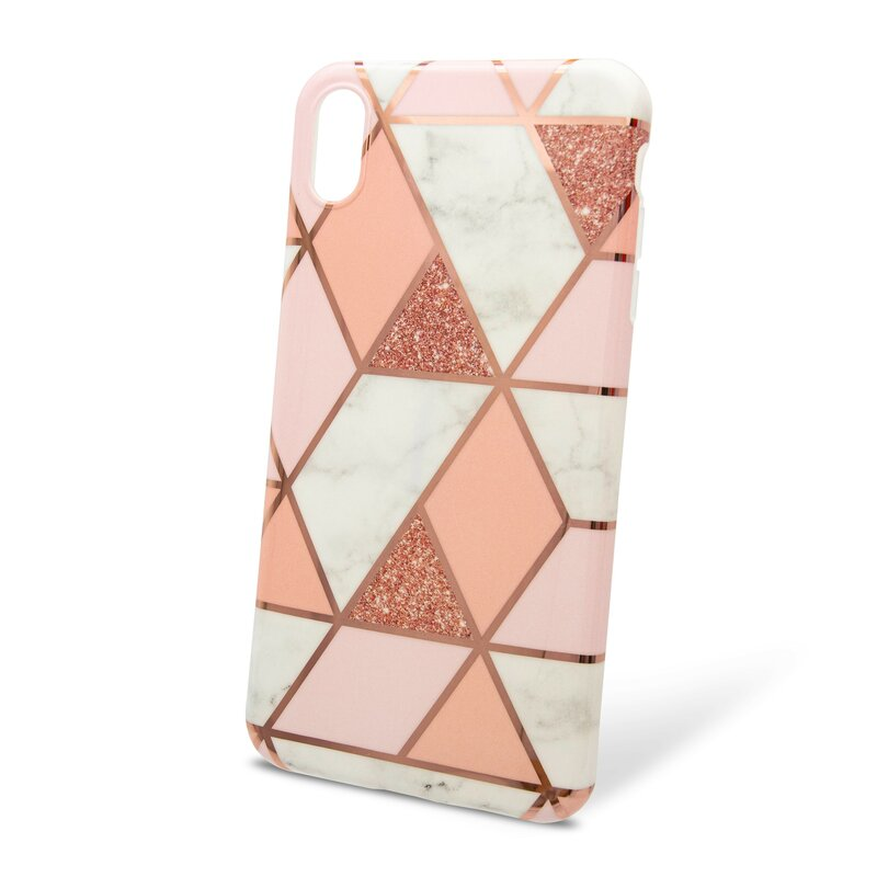 Husa iPhone XS Max Mobster Laser Marble Shockproof TPU - Pink