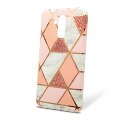 Husa Huawei Mate 20 Lite Mobster Laser Marble Shockproof TPU - Pink