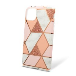 Husa iPhone 11 Mobster Laser Marble Shockproof TPU - Pink