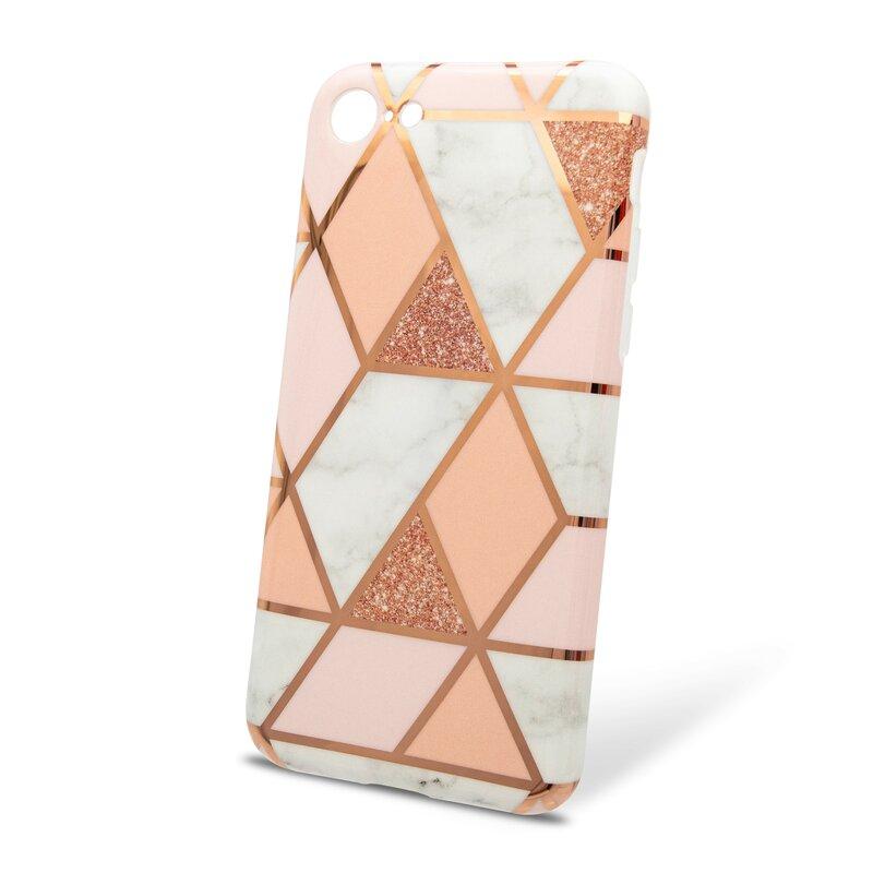 Husa iPhone 8 Mobster Laser Marble Shockproof TPU - Pink