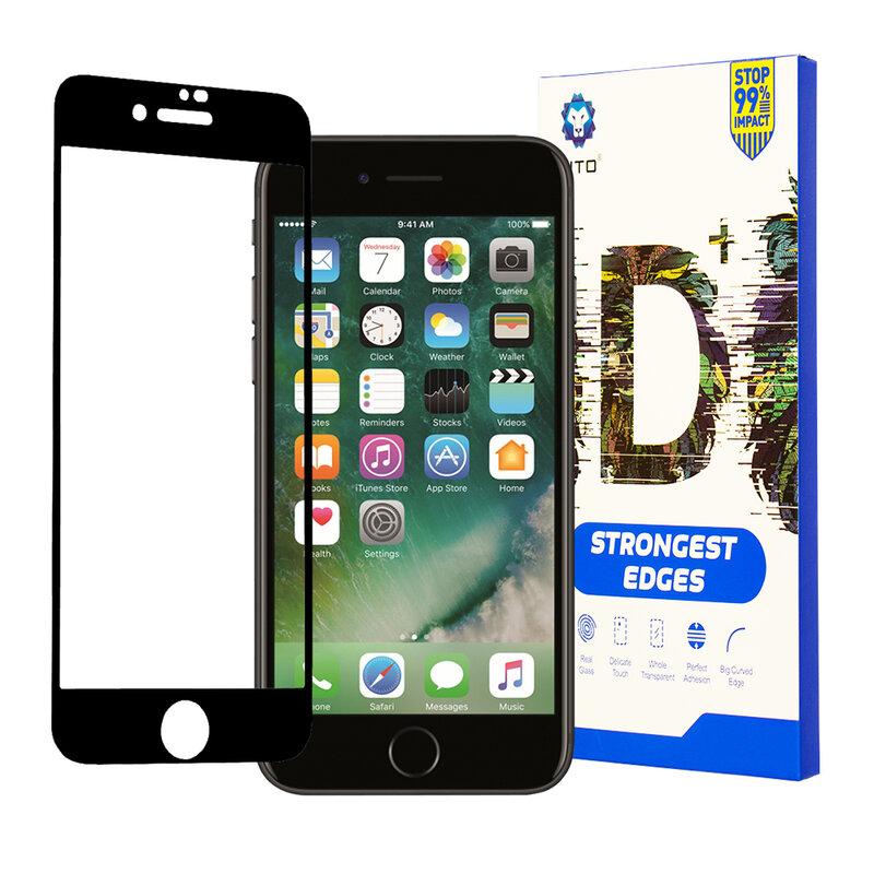 Folie Sticla iPhone 8 Lito Strongest Edges Cu Rama - Negru