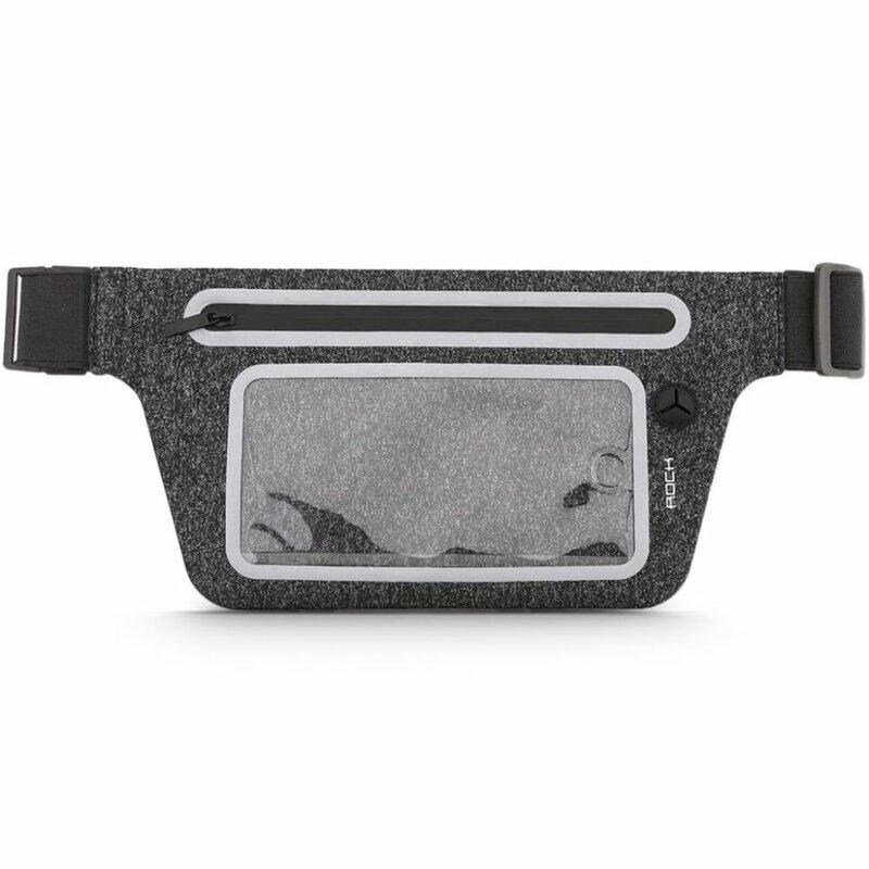 Borseta Alergare Rock Slim Sports Waist Bag Transparenta Pentru Telefon Si Accesorii Decupaj Pentru Casti - Black
