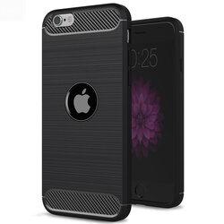 Husa iPhone SE 2, SE 2020 TPU Carbon Cu Decupaj Pentru Sigla - Negru