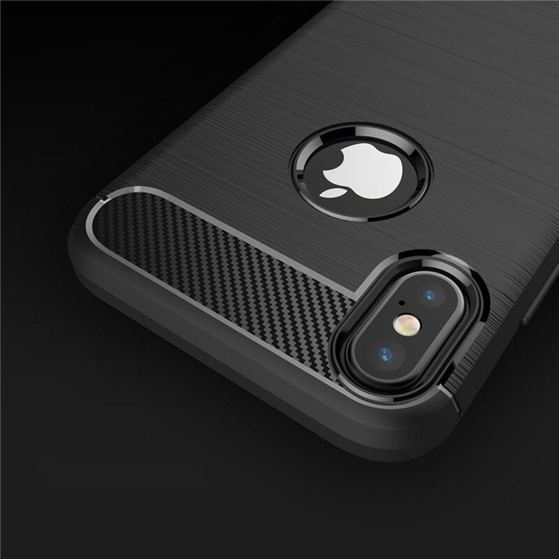 Husa iPhone XS TPU Carbon Cu Decupaj Pentru Sigla - Negru
