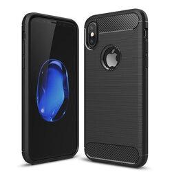 Husa iPhone X, iPhone 10 TPU Carbon Cu Decupaj Pentru Sigla - Negru