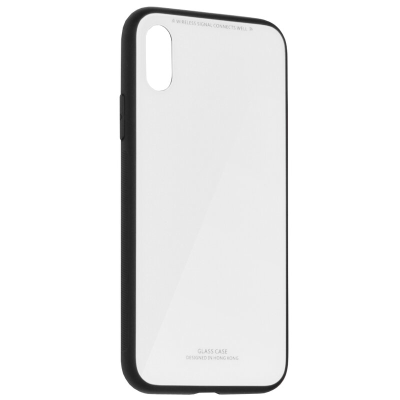 Husa iPhone XS Glass Series - Alb