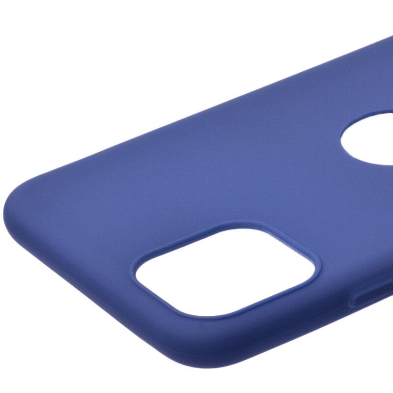 Husa iPhone 11 Pro Max Soft TPU Cu Decupaj Pentru Sigla - Albastru