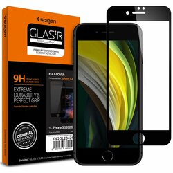 Folie Sticla iPhone SE 2, SE 2020 Spigen Glas.t R Slim 9H - Black