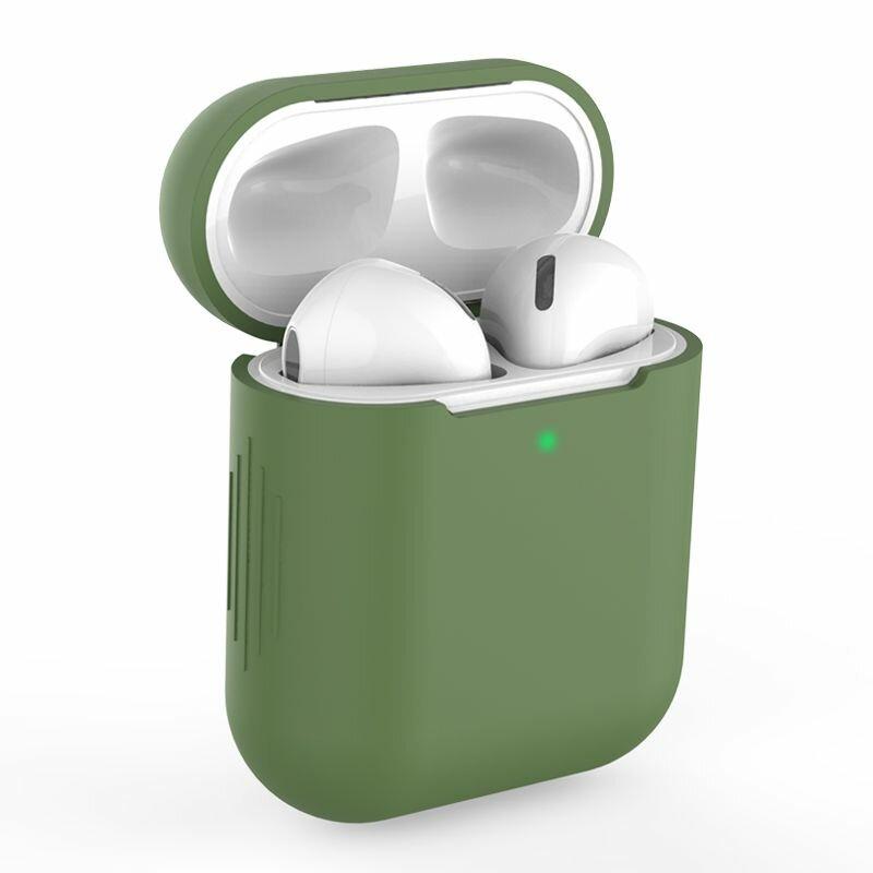 Husa Apple Airpods Tech-Protect Icon Din Silicon Lavabil Cu Decupaj Pentru Cablul De Incarcare - Verde