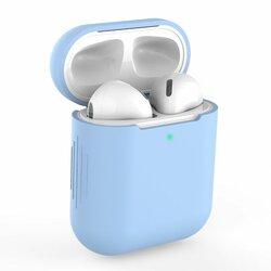 Husa Apple Airpods Tech-Protect Icon Din Silicon Lavabil Cu Decupaj Pentru Cablul De Incarcare - Albastru Deschis