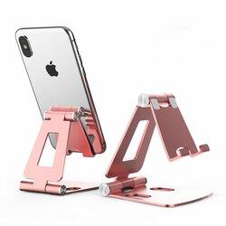 Suport Birou Tech-Protect Universal Stand Pentru Telefon Din Aluminiu Pliabil Si Reglabil - Roz