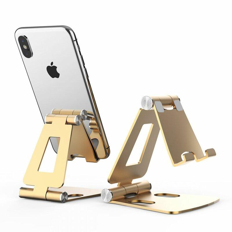 Suport Birou Tech-Protect Z16 Universal Stand Pentru Telefon Din Aluminiu Pliabil Si Reglabil - Auriu