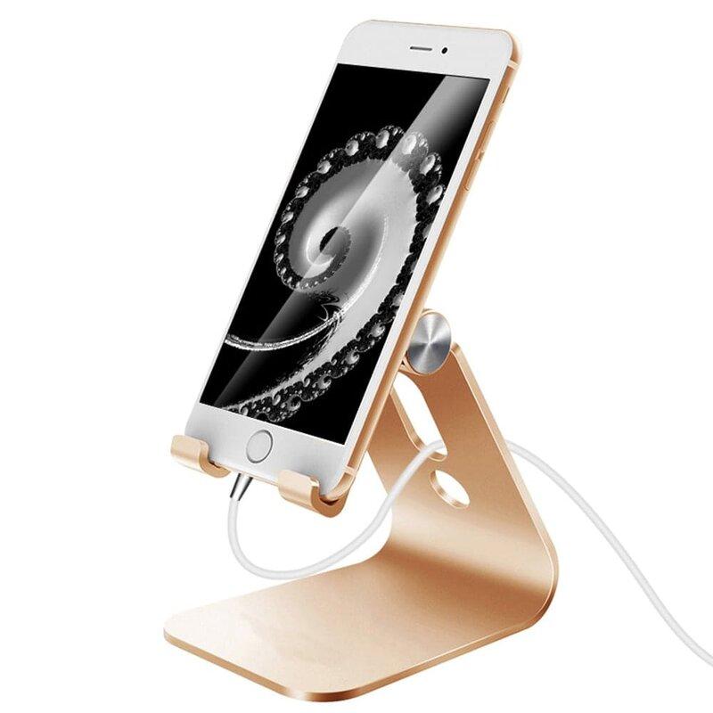 Suport Birou Mobster Aluminum Universal Stand Pentru Telefon / Tableta Din Aluminiu Pliabil Si Reglabil - Auriu