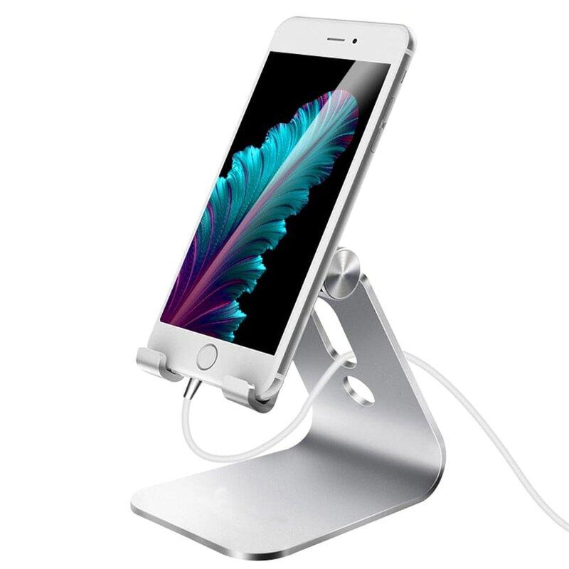 Suport Birou Mobster Aluminum Universal Stand Pentru Telefon / Tableta Din Aluminiu Pliabil Si Reglabil - Argintiu