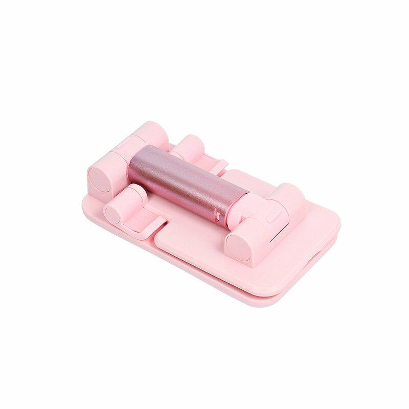 Suport Birou Mobster Foldable Desk Holder Stand Pliabil Cu Oglinda Pentru Telefon / Tableta / eBook Reader - Roz