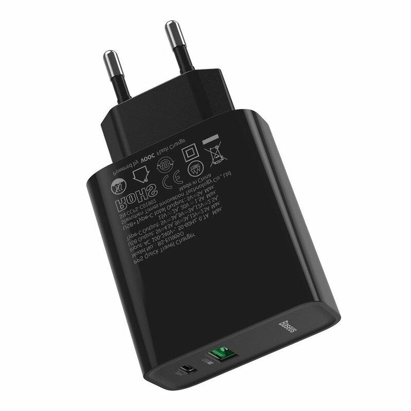 Incarcator Priza Baseus VOOC Speed PPS USB/Type-C PD 30W + Cablu Incarcare USB/Type-C - TZCCFS-H01 - Negru