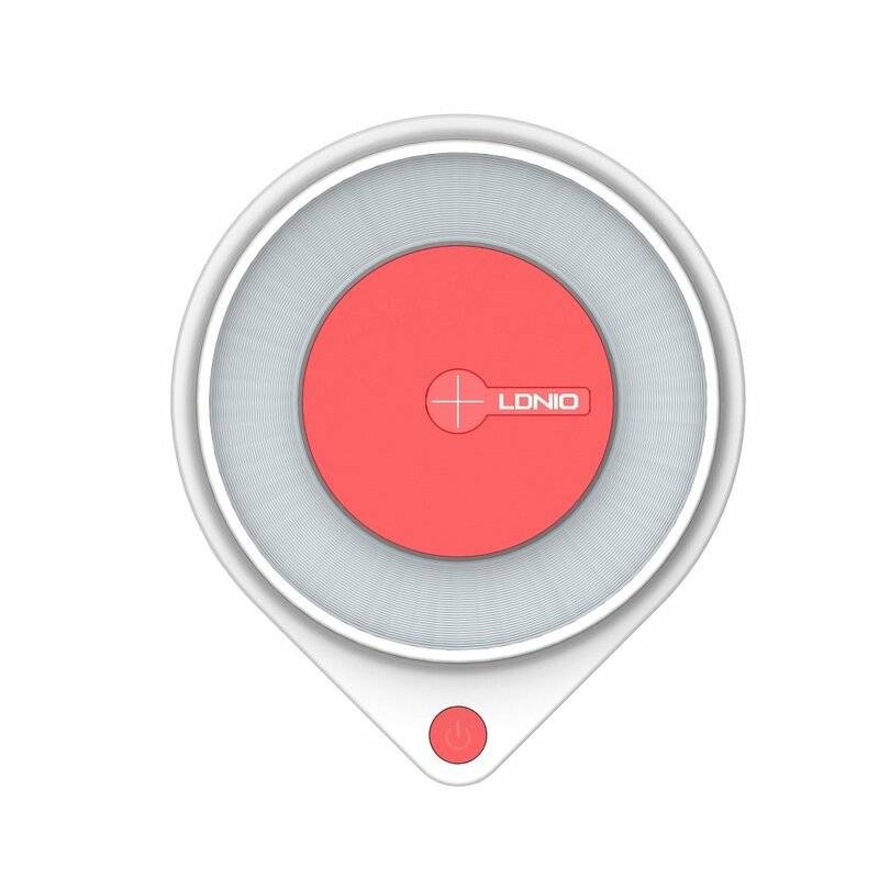 Incarcator Wireless LDNIO AW001 Led Bedside Lamp 10W + Cablu De Incarcare Micro-USB De 1.2m - Alb / Rosu