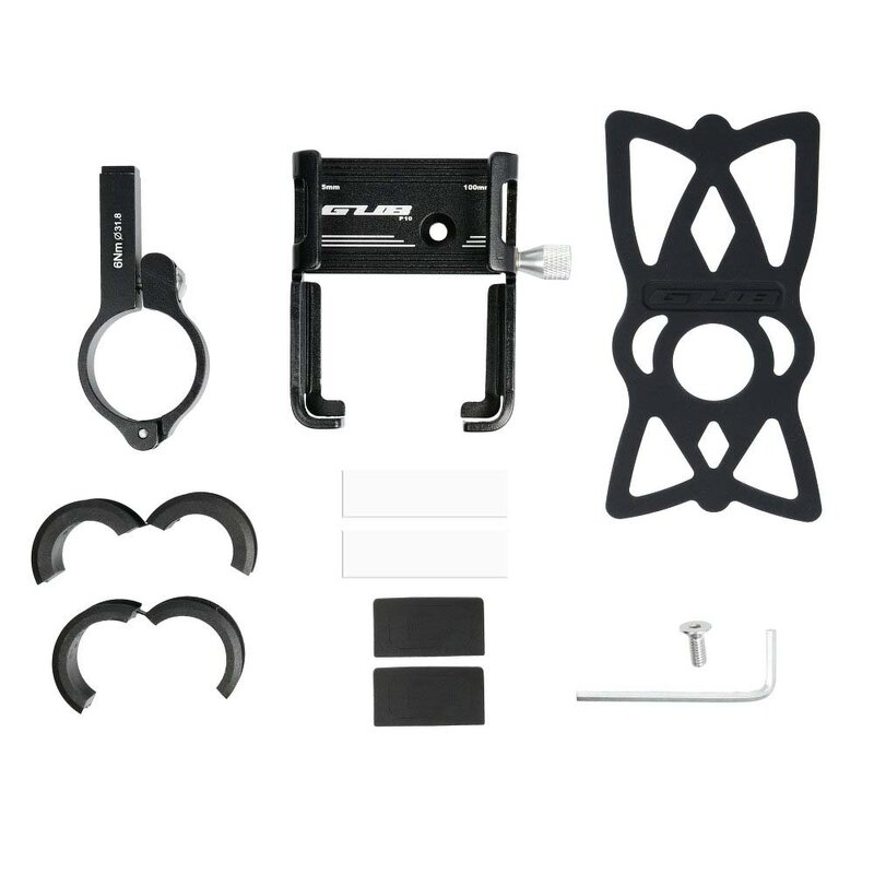Suport Bicicleta / Trotineta Gub P10 Universal Pentru Telefon Din Aluminiu Cu Prindere Pe Ghidon - Negru