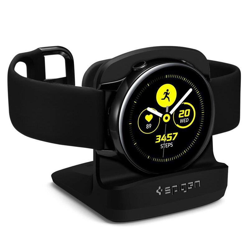 Suport Birou Samsung Galaxy Watch Active 1/2 (40/44mm) Spigen S351 Night Stand Pentru Noptiera - Negru
