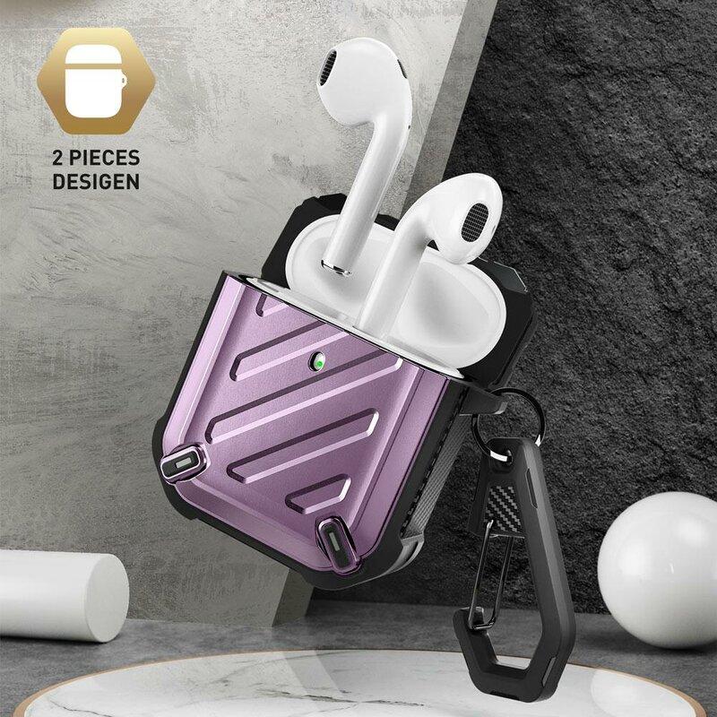 Husa Apple Airpods Supcase Unicorn Beetle Pro Din Policarbonat Si Silicon Cu Holder Metalic - Violet