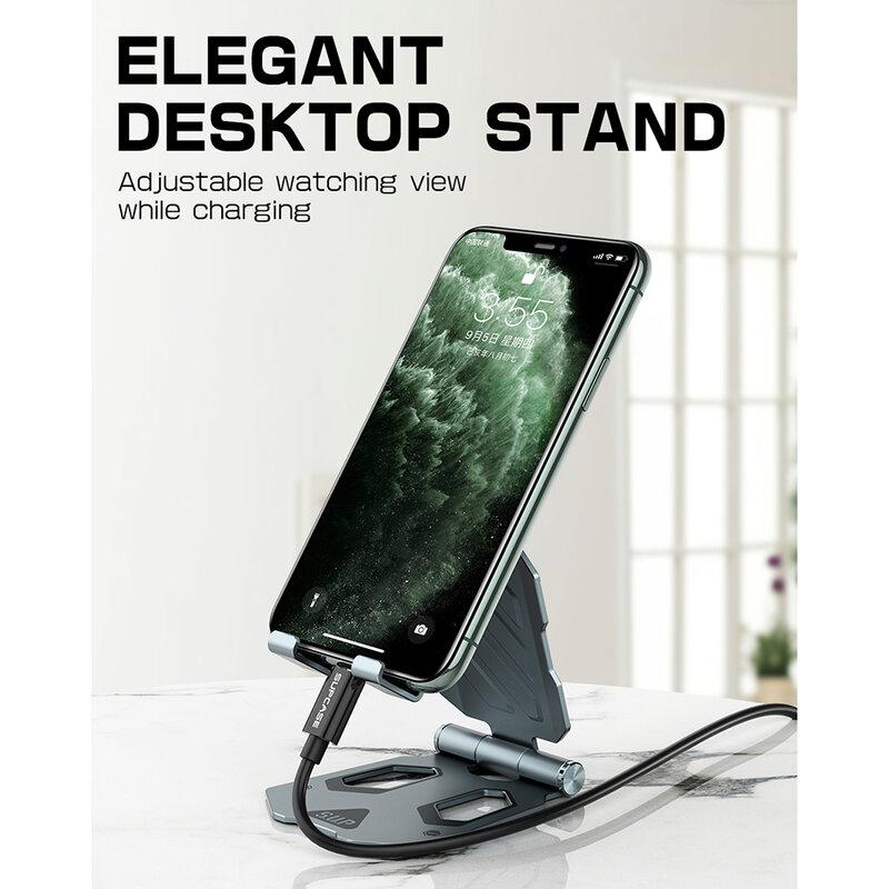 Suport Birou Supcase Multi Angle Universal Stand Pentru Telefon/Tableta Din Aluminiu Pliabil Si Reglabil - Negru