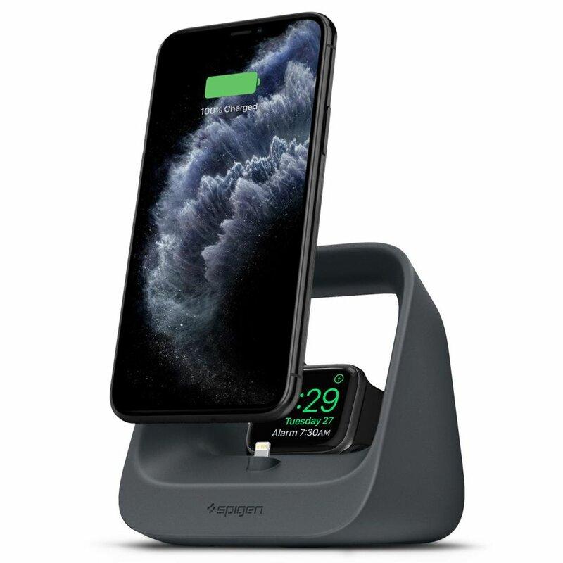 Suport Birou Spigen S316 Pentru iPhone / Apple Watch / AirPods Cu Functie De Incarcare Doar Prin Cablu - Cenusiu