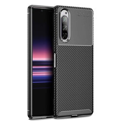 Husa Sony Xperia 5 Mobster Carbon Skin Negru