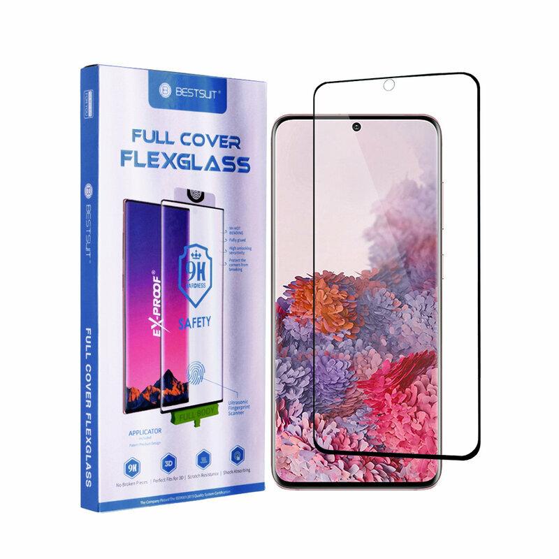 Folie Samsung Galaxy S20 5G Bestsuit Fullcover Flexible Glass 9H Hot Bending V2 - Negru